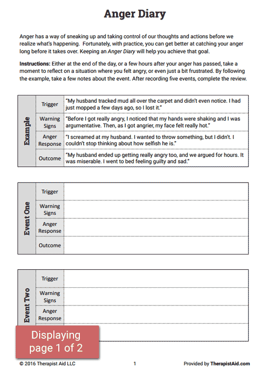 Anger management worksheets for adults in recovery
