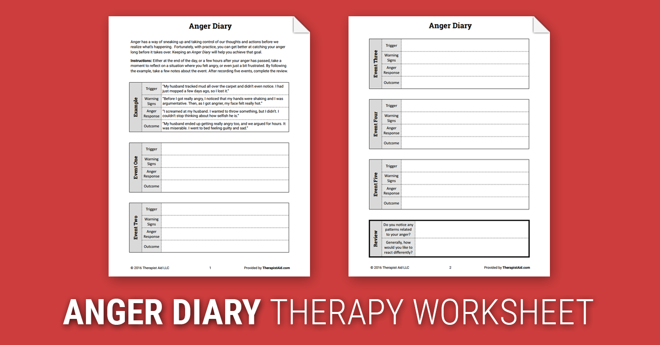 Anger Diary Worksheet – Anger Worksheet