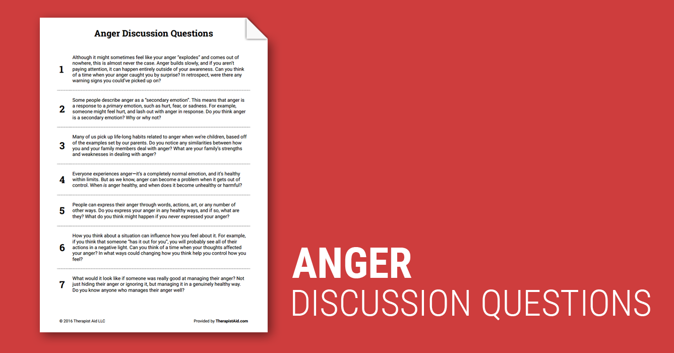 image regarding Anger Management Quiz Printable identified as Anger Dialogue Issues (Worksheet) Therapist Support