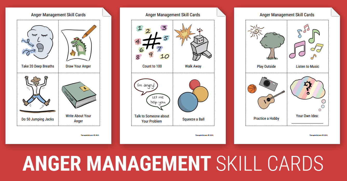 Anger Management Skill Cards Worksheet – Coping Skills Worksheets for Kids