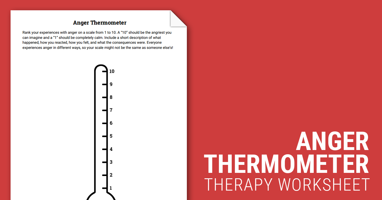 anger thermometer worksheet therapist aid