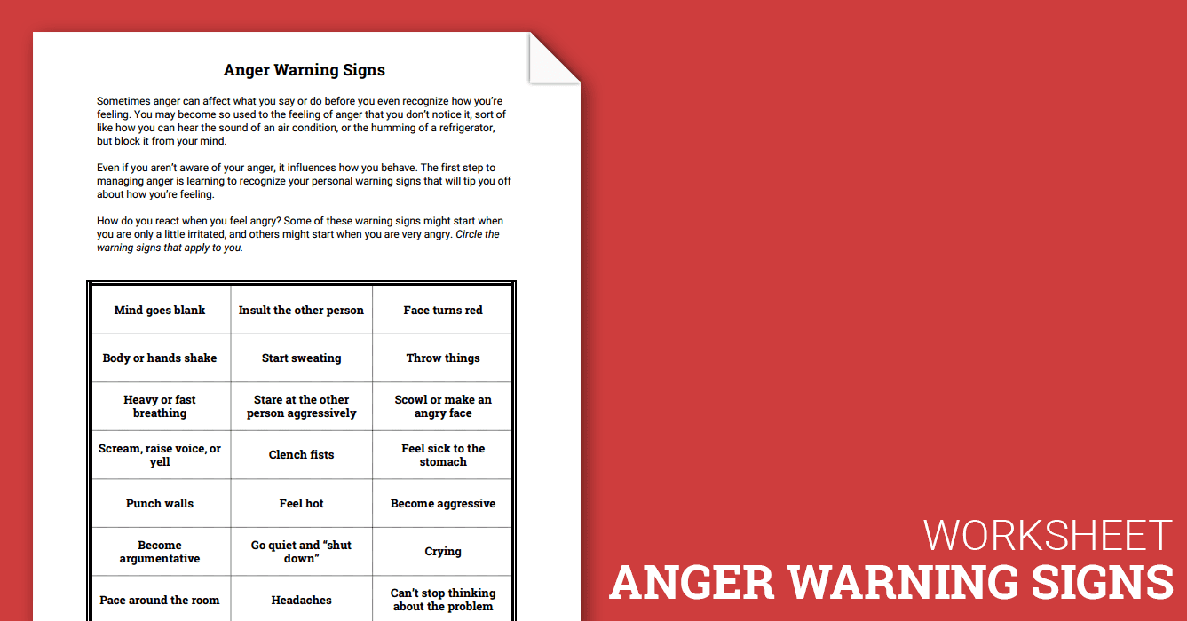 anger warning signs (worksheet) therapist aid
