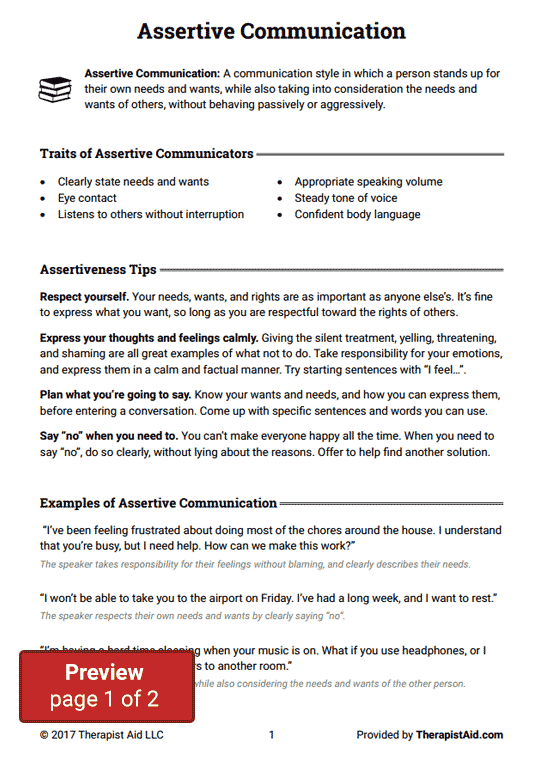 Worksheets Assertiveness Training Worksheets assertive communication worksheet therapist aid preview