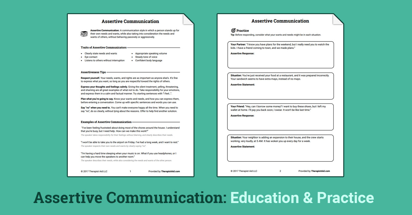 Uncategorized Assertive Communication Worksheet assertive communication worksheet therapist aid