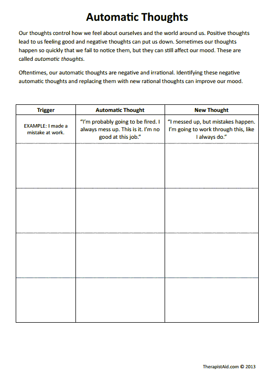 Automatic Thoughts (Worksheet) | Therapist Aid