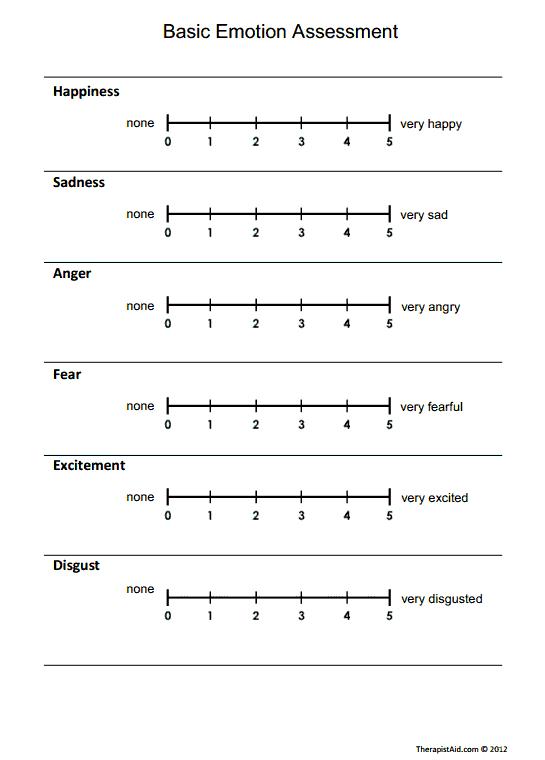 Basic Emotion Assessment Worksheet – Emotions Worksheet