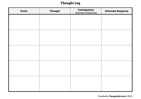 Thought Log (blank) (Worksheet) | Therapist Aid
