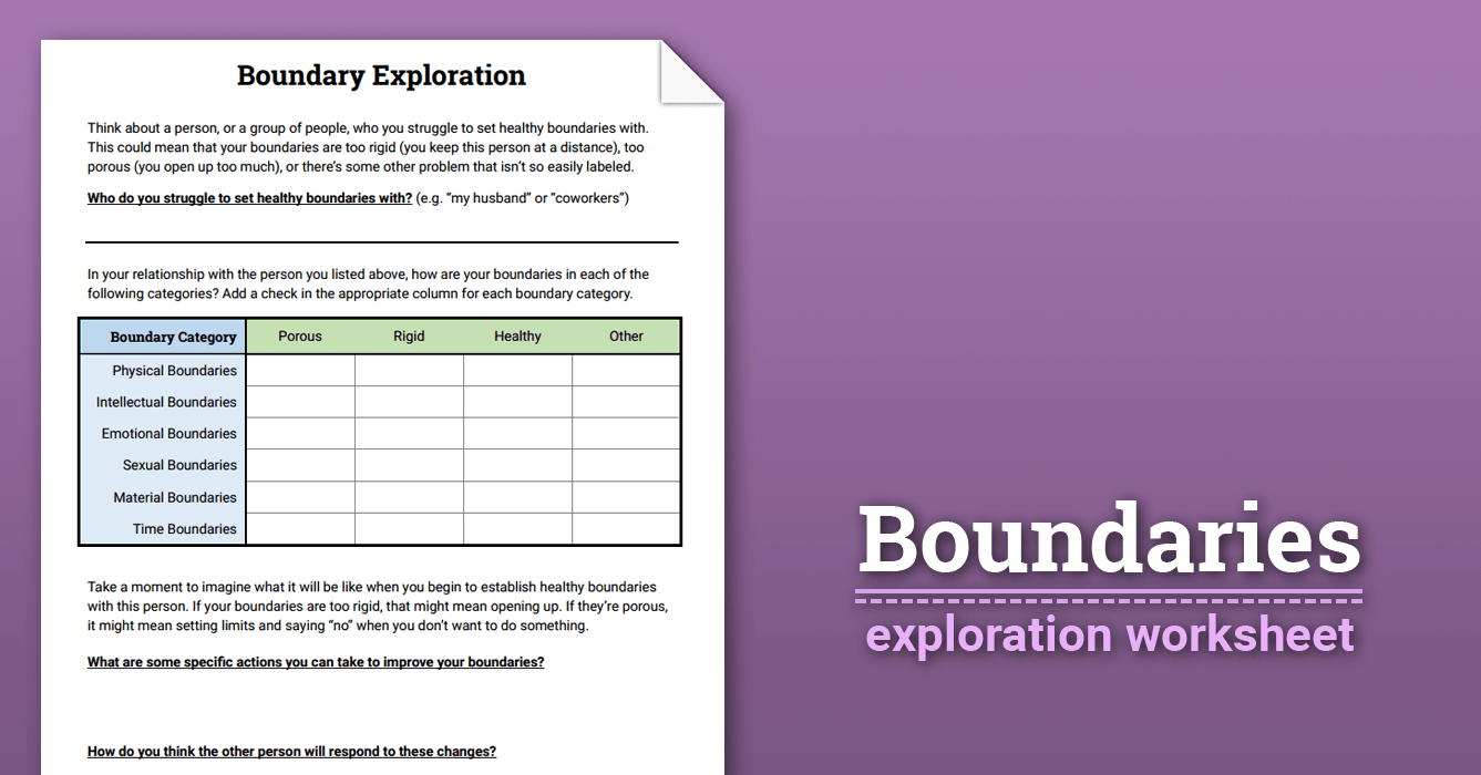 Boundaries Exploration (Worksheet) | Therapist Aid
