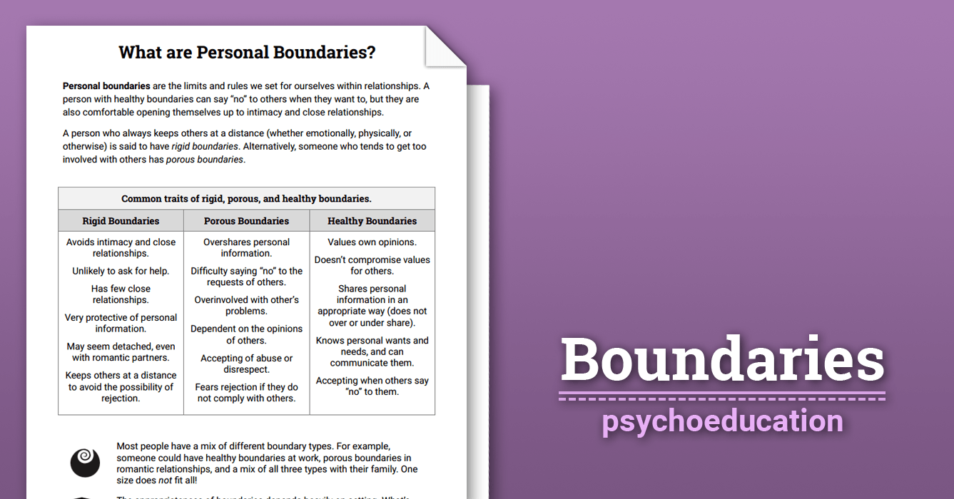 Boundaries Info Sheet Worksheet – Healthy Relationships Worksheet