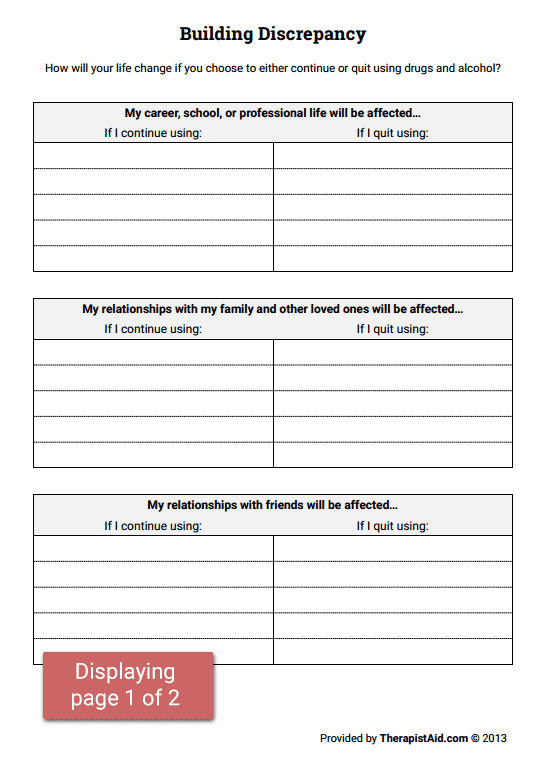 Printables Stages Of Change Worksheet building discrepancy worksheet therapist aid preview