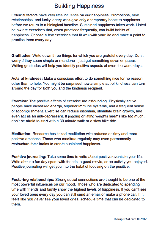 Building Happiness (Exercises) (Worksheet) | Therapist Aid