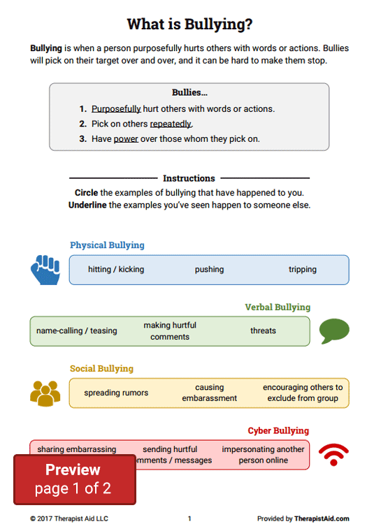 Bullying Worksheet Packet (Worksheet) | Therapist Aid