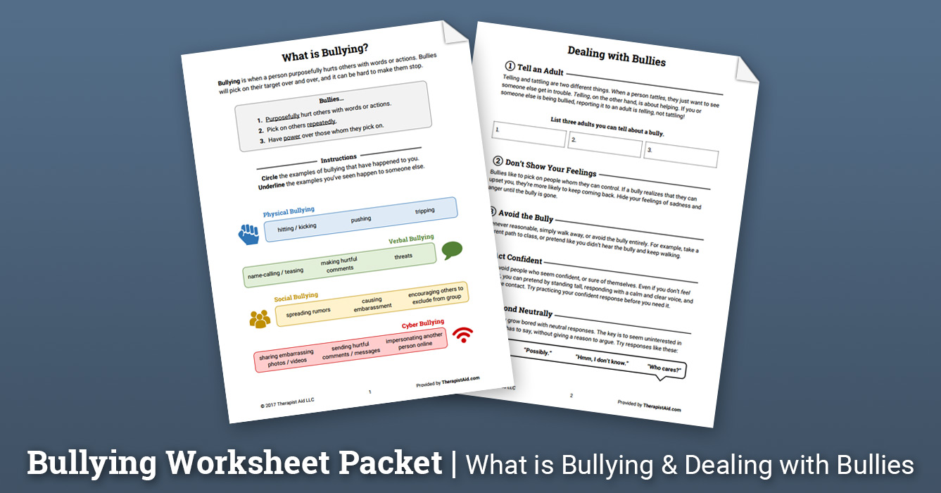 worksheet Bullying Worksheet bullying worksheet packet therapist aid