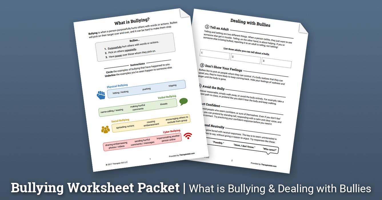 Uncategorized Bullying Worksheets bullying worksheet packet therapist aid