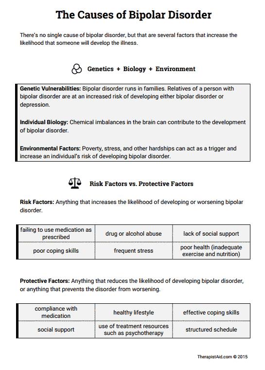 Causes of Bipolar Disorder (Worksheet) | Therapist Aid