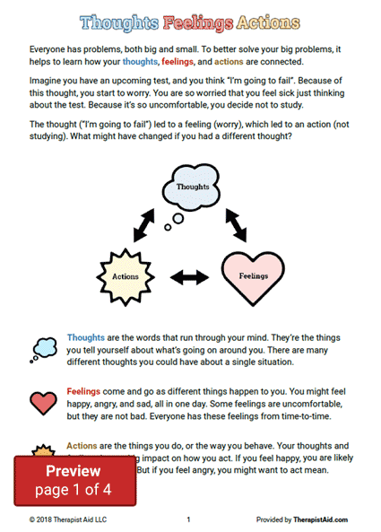CBT for Kids: Thoughts, Feelings, & Actions Preview