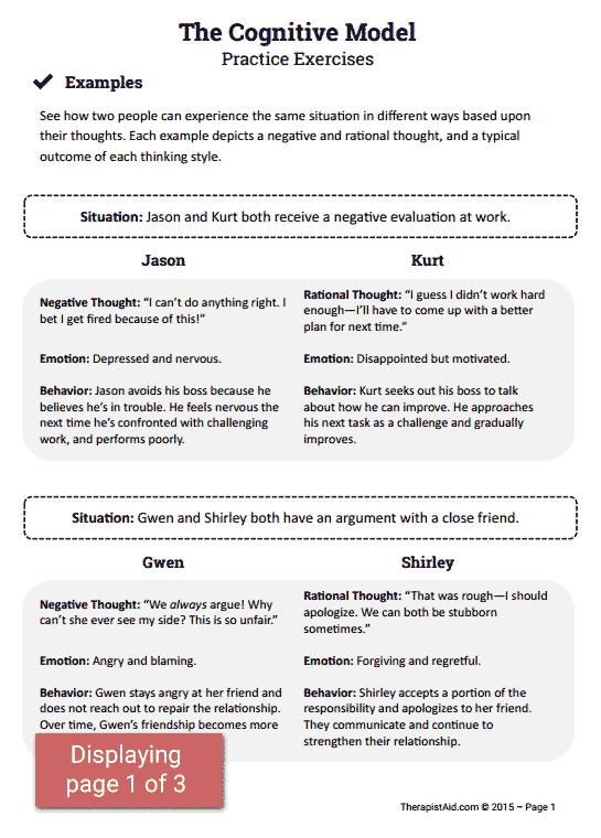 CBT Practice Exercises Worksheet – Cognitive Worksheets