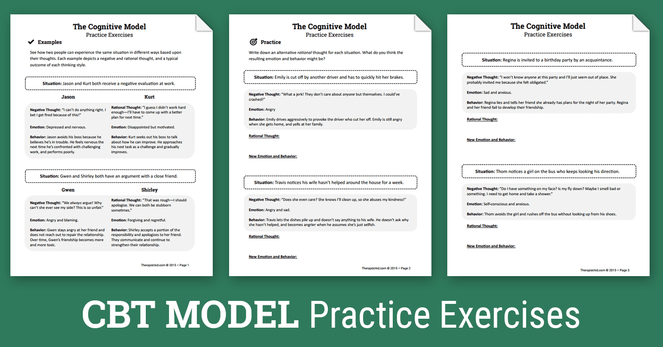 CBT Practice Exercises (Worksheet) | Therapist Aid: http://www.therapistaid.com/therapy-worksheet/cbt-practice-exercises