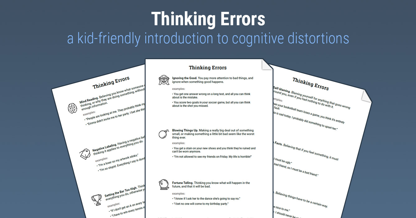 Thinking Errors Worksheet Therapist Aid