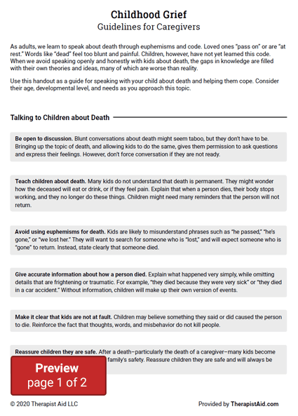 Childhood Grief: Guidelines for Caregivers Preview