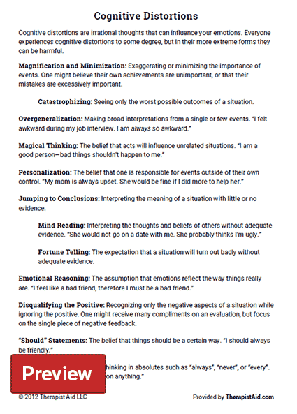 Cognitive Distortions Worksheet – Cognitive Behavioral Therapy Worksheet