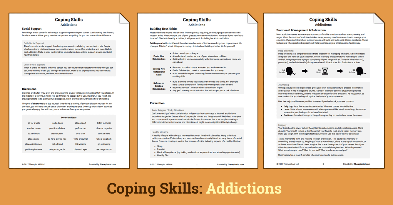 Coping Skills: Addictions (Worksheet) | Therapist Aid