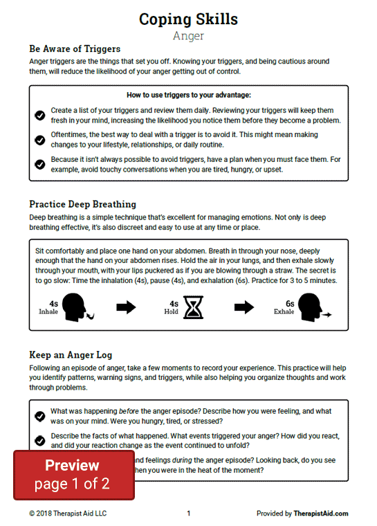 coping skills anger (worksheet) therapist aidcoping skills anger preview