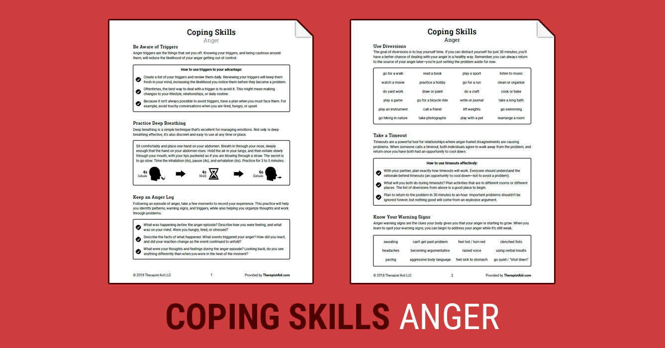 Worksheets Coping Skills Worksheet coping skills anger worksheet therapist aid