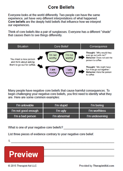 Core Beliefs Worksheet – Cognitive Distortion Worksheet