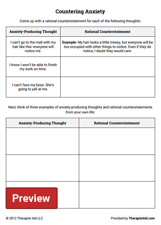 Countering Anxiety Thought Log Preview