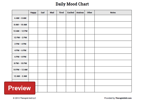 Daily Mood Chart (Worksheet) | Therapist Aid