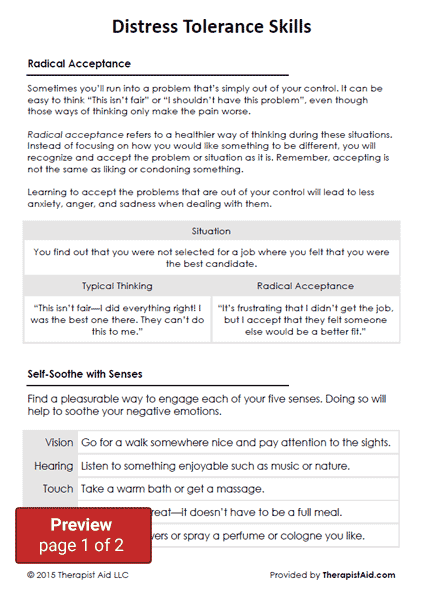 DBT Distress Tolerance Skills Worksheet – Emotion Regulation Worksheet