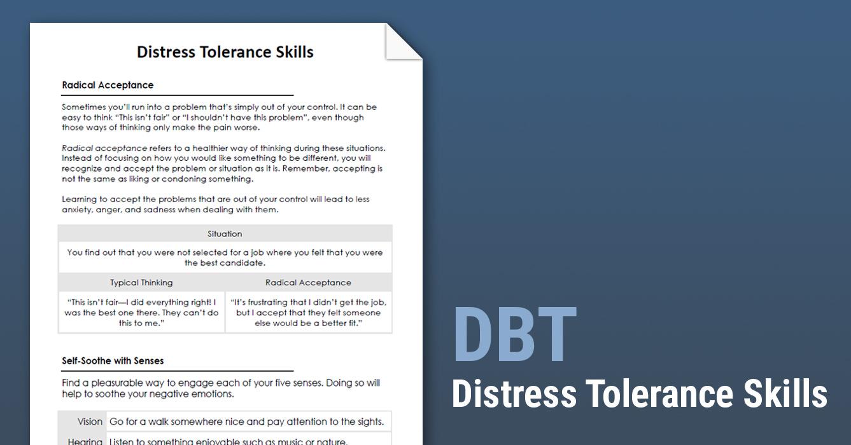 Dbt Distress Tolerance Skills Worksheet Therapist Aid