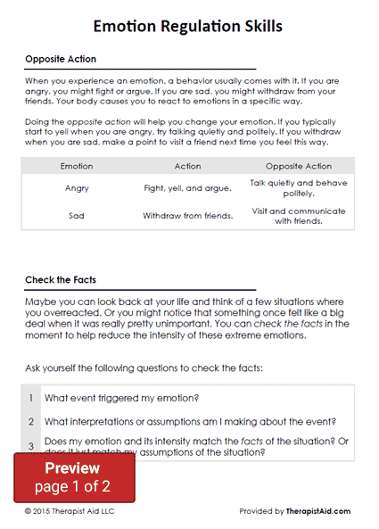 DBT Emotion Regulation Skills Worksheet – Emotional Regulation Worksheets