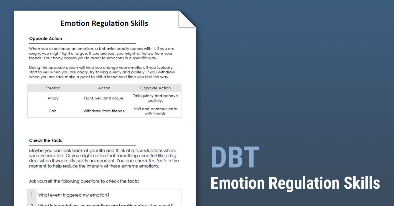 DBT Emotion Regulation Skills (Worksheet) | Therapist Aid