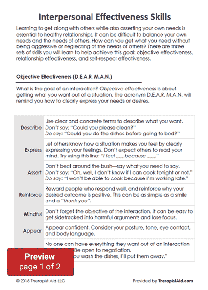 DBT Interpersonal Effectiveness Skills Worksheet – Emotion Regulation Worksheet