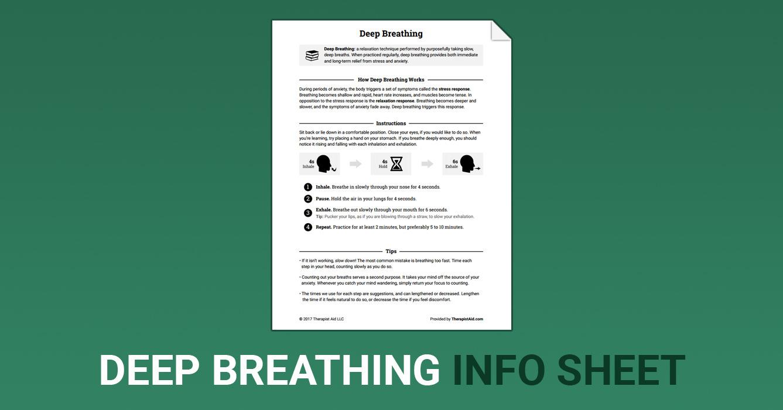 Deep Breathing (Worksheet) | Therapist Aid