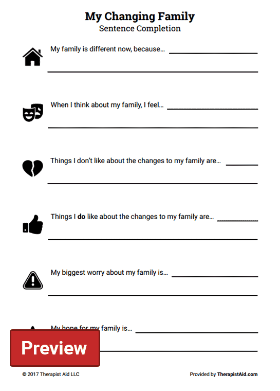 My Changing Family: Sentence Completion (Worksheet ...