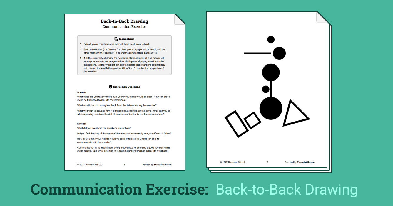 Back To Back Drawing Activity Worksheet Therapist Aid