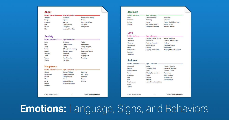 Emotion Reference Sheet Worksheet Therapist Aid