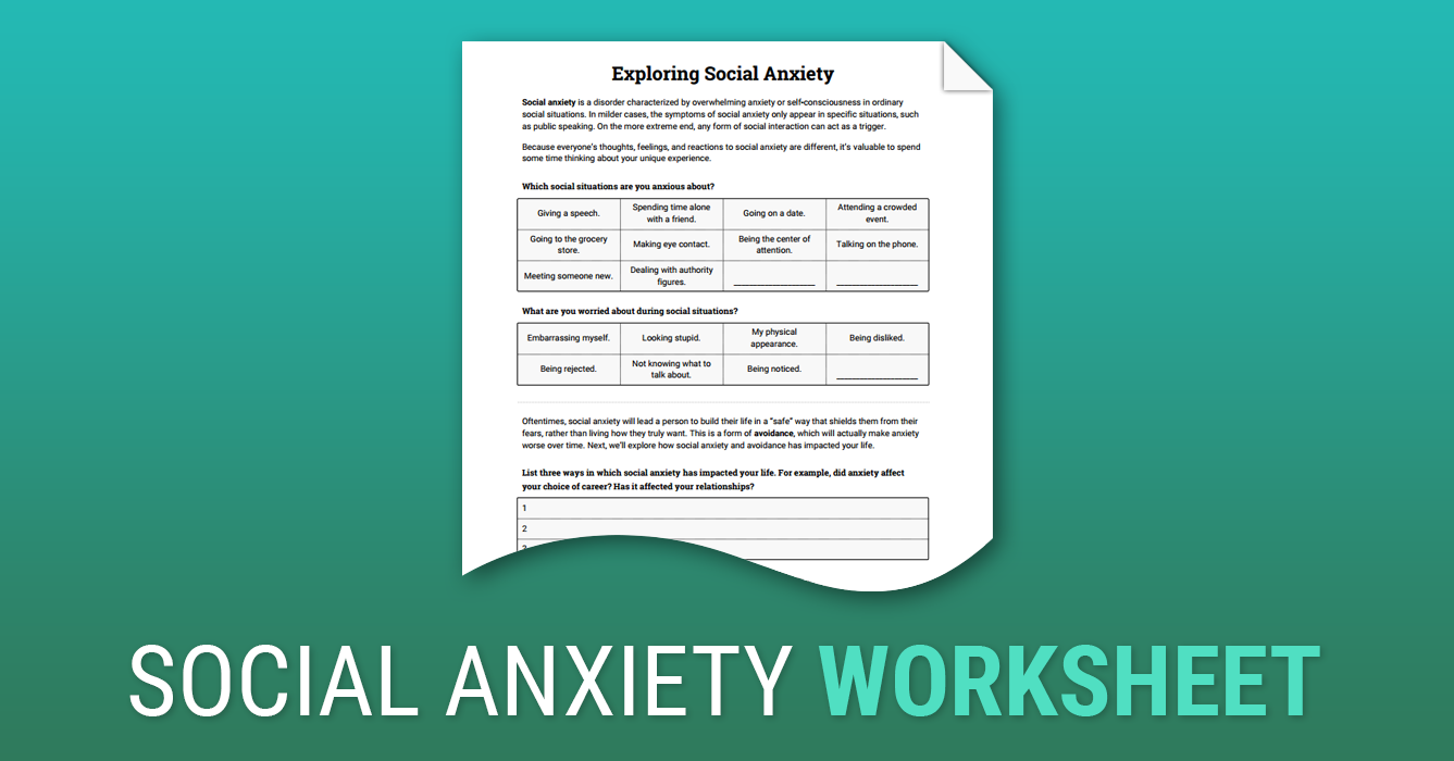 Worksheets Social Anxiety Worksheets exploring social anxiety worksheet therapist aid