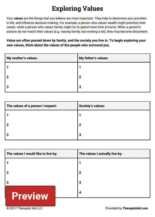 Exploring Values Worksheet – Relationship Therapy Worksheets