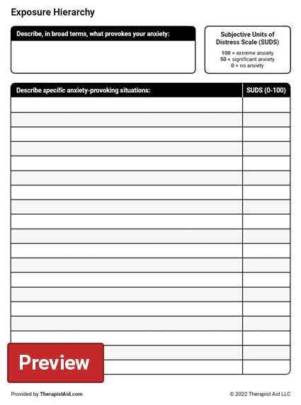 Worksheets Anxiety Worksheets exposure hierarchy worksheet therapist aid preview