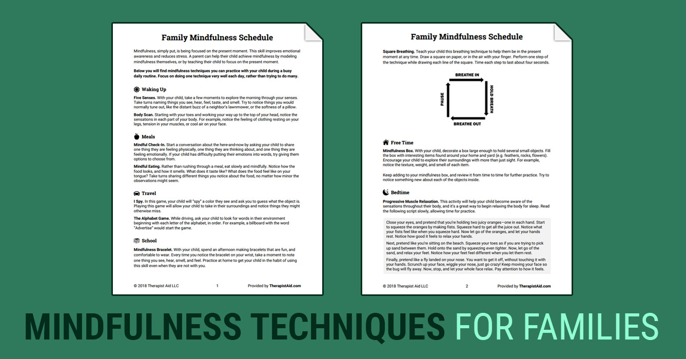 Family Mindfulness Schedule (Worksheet) | Therapist Aid
