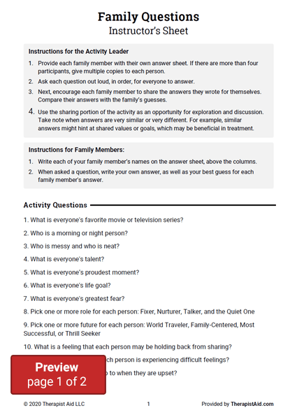 Family Questions Activity Preview