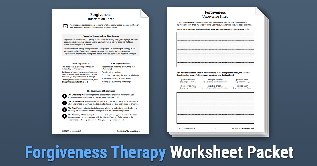 Forgiveness Therapy Worksheet Therapist Aid
