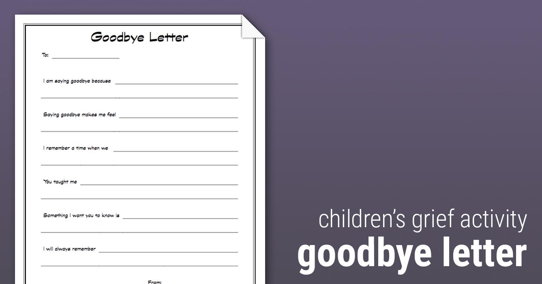 Goodbye Letter Worksheet Therapist Aid