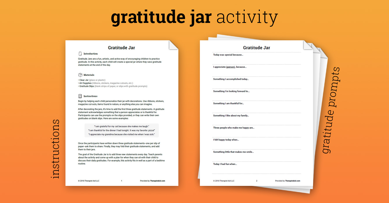 Gratitude Jar Activity Worksheet Therapist Aid