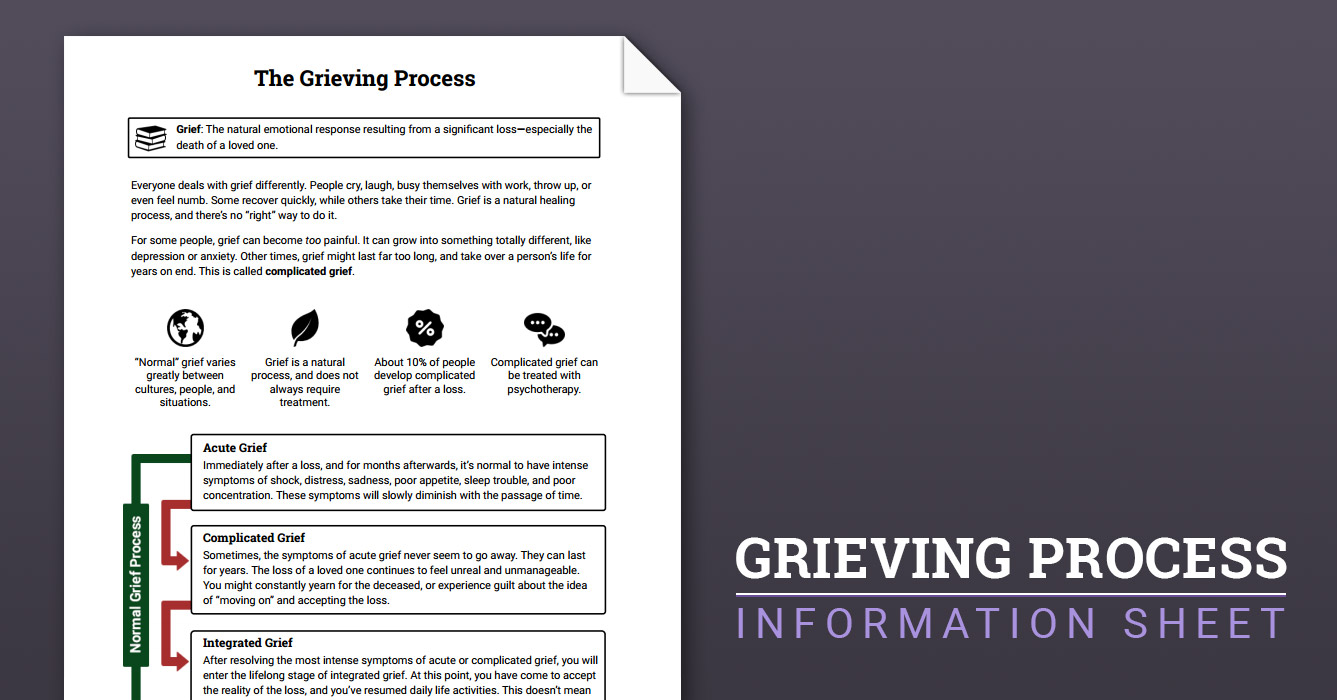 photo regarding Printable Grief Workbook identified as The Grieving Technique (Worksheet) Therapist Guidance