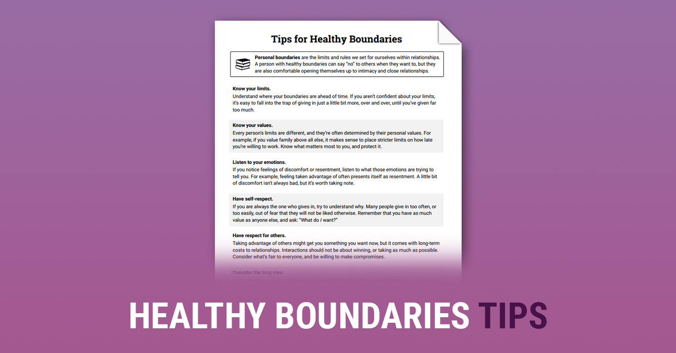 Healthy Boundaries Tips (Worksheet) | Therapist Aid